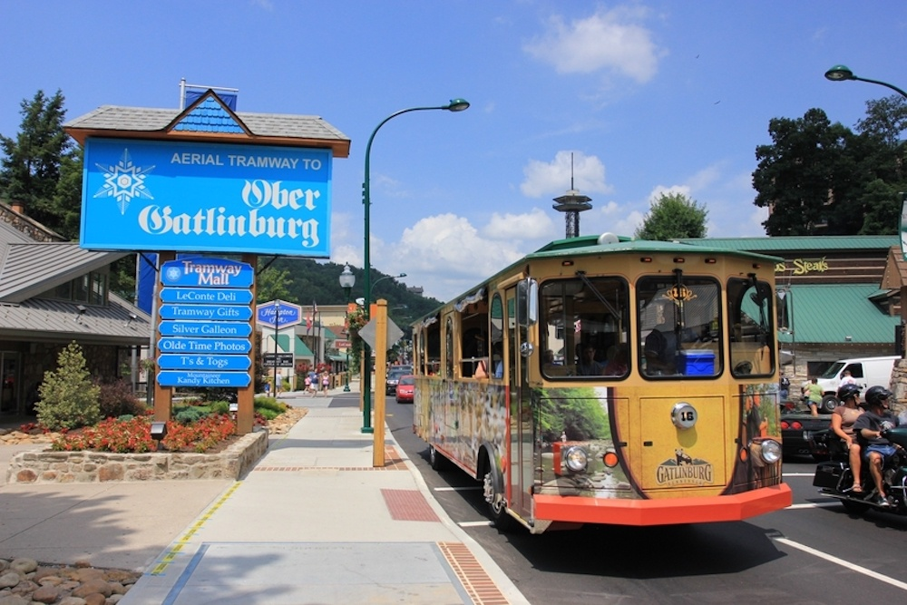 ober gatlinburg sign and trolley