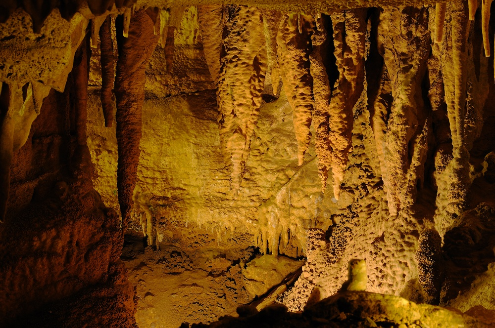 stalactites in a cave shaped like shark teeth