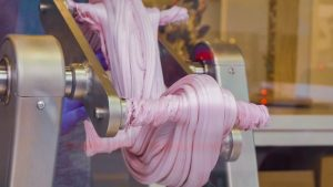 taffy being pulled by a machine
