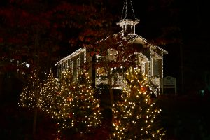 dollywood chapel covered in lights