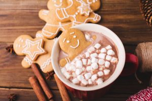 gingerbread cookies and hot chocolate